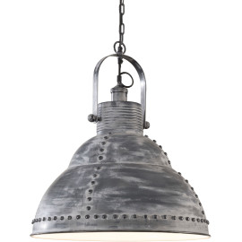 Suspension industrielle en métal gris Ø 51 cm Celine
