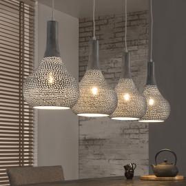 Lustre industriel en métal gris 4 lampes Julie