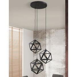 Suspension vintage en métal noir 3 lampes Salomé