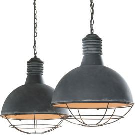 Suspension industrielle en métal gris 2 lampes Ø 41 cm Alma