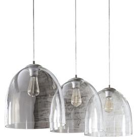 Suspension moderne en verre 3 lampes Ø 33 cm Floriane