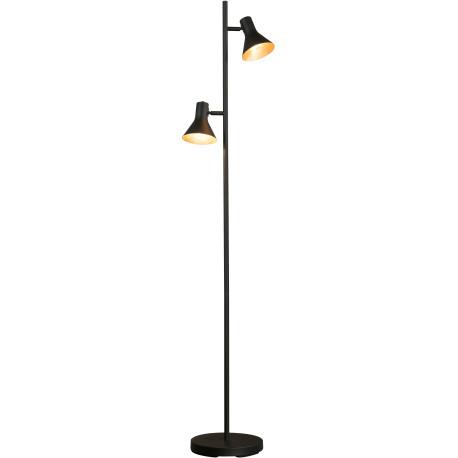 Lampadaire vintage en métal noir 2 lampes Ambre
