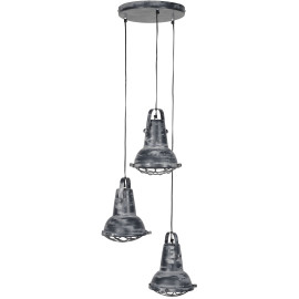 Suspension industrielle en fer gris 3 x Ø 42 cm Ines