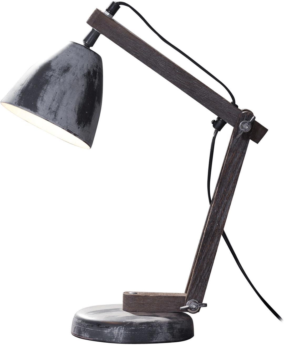 Lampe industrielle en bois et métal gris dépoli Lena