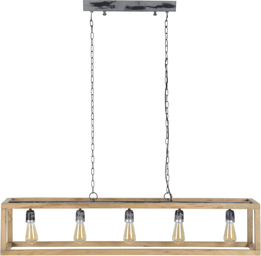 Lustre vintage en bois 5 lampes Celia