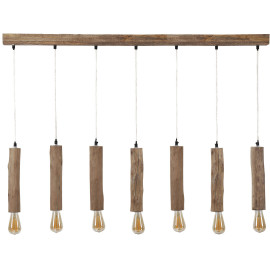 Lustre vintage en bois claire 7 lampes Manel