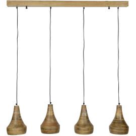 Suspension vintage en bois foncé 4 lampes Maëlys