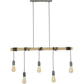 Suspension industrielle 5 lampes suspendues Louis