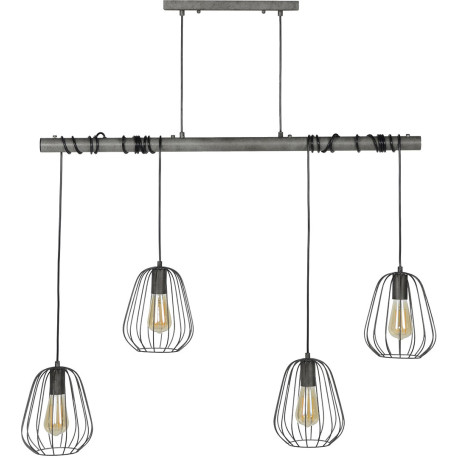 Suspension industrielle 4 lampes Ø18 cm Louisiane