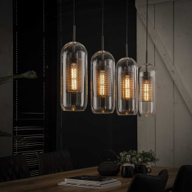Suspension industrielle 4 lampes en verre Ø15 cm Teddy