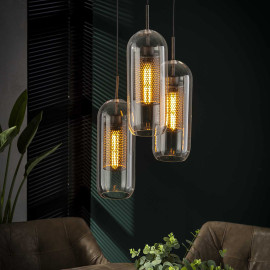 Suspension industrielle 3 lampes en verre Ø15 cm Teddy