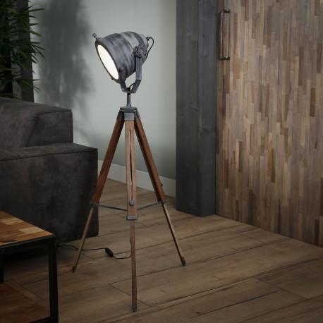 Lampadaire industriel en bois foncé et métal gris ancien Andrea