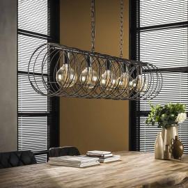 Suspension industrelle en métal noir 5 lampes Wally