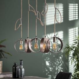 Suspension industrielle en métal 5 lampes Maelle