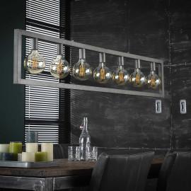 Suspension vintage en métal argenté 7 lampes Stefano