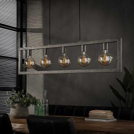 Suspension vintage en métal argenté 5 lampes Stefano