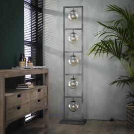 Lampadaire vintage en métal argenté 5 lampes Haylie