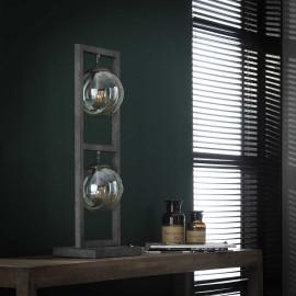 Lampe de table vintage en métal argenté 2 lampes Haylie