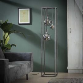 Lampadaire industriel 3 lampes en métal argenté Jules