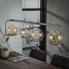 Suspension vintage en métal argenté 4 lampes Russel