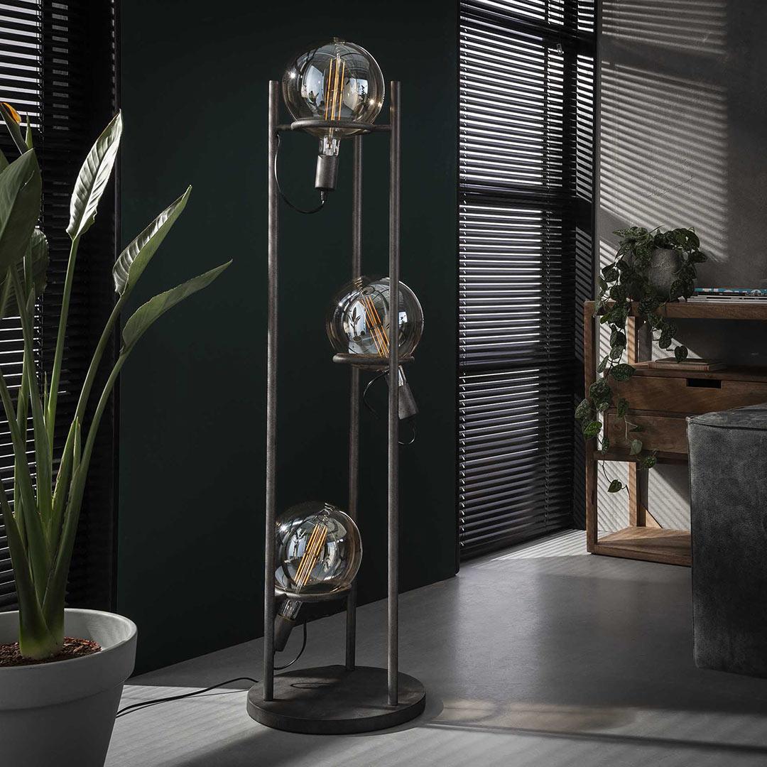 Lampadaire vintage en métal argenté 3 lampes Ø20 cm Russel
