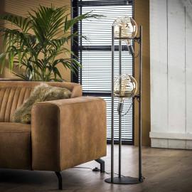 Lampadaire vintage en métal argenté 2 lampes Ø20 cm Russel