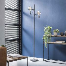 Lampadaire vintage en métal argenté 2 lampes Ø12,5 cm Calvin