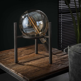 Lampe de table vintage en métal argenté Ø20 cm Russel