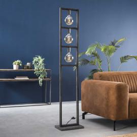 Lampadaire industriel en métal argenté Adèle