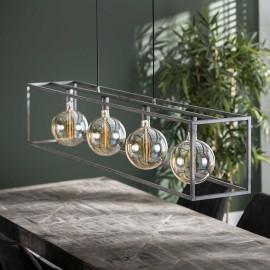Suspension industrielle en métal argenté 4 lampes Gaston