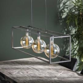 Suspension industrielle en métal argenté 3 lampes Gaston