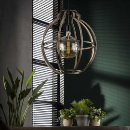 Suspension vintage en métal argenté globe Ø50 cm Erika