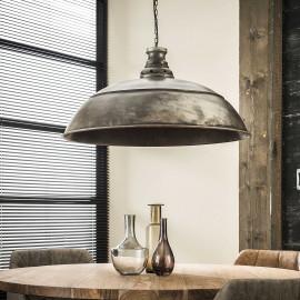 Suspension industrielle en métal argenté Ø80 cm Harrison