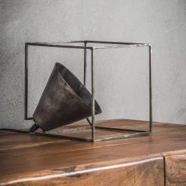 Lampe à poser industrielle en métal argenté Cubica