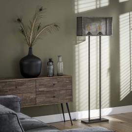 Lampadaire vintage en métal gris 2 lampes Manon