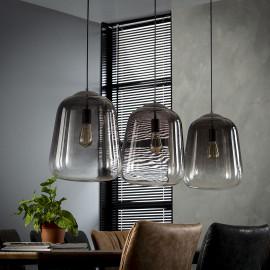 Suspension vintage en verre foncé 3 lampes Benjamin