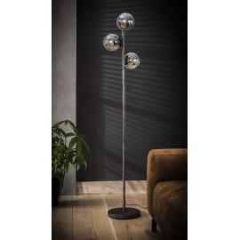 Lampadaire vintage 3 sphères rondes en métal gris et verre Noemie