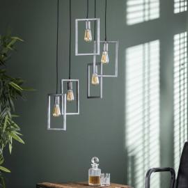 Suspension industrielle 5 lampes étagées en métal argenté Baptiste