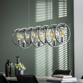 Suspension industrielle en métal argenté 7 lampes Lucio