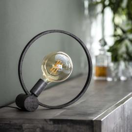 Lampe de table industrielle en métal argenté Lucio