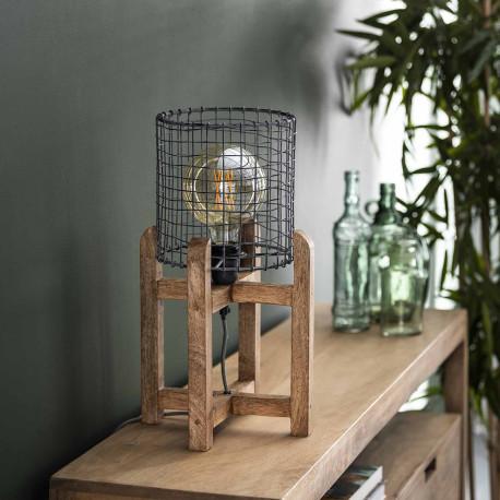 Lampe de table industrielle en bois et métal Robin