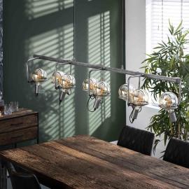 Suspension industrielle en métal argenté 8 lampes Calvin