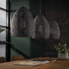 Suspension industrielle ovale en métal noir rouillé 3 x Ø 26 cm Rico