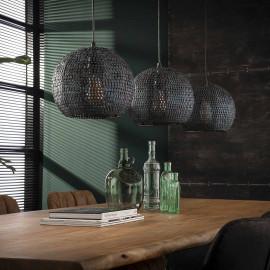 Suspension industrielle ronde en métal noir rouillé 3 x Ø 26 cm Rico