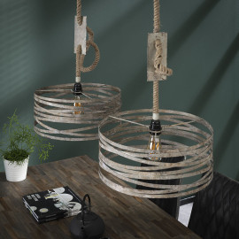 Suspension vintage en métal 2 lampes Ø 40 cm David