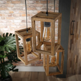 Suspension contemporaine en bois de manguier 3 lampes étagées Rudy