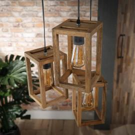 Suspension contemporaine en bois de manguier 3 lampes étagées Rudy