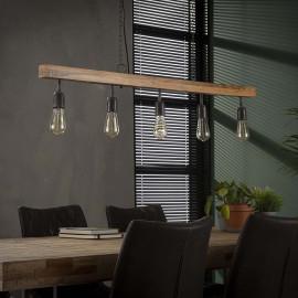 Suspension contemporaine en bois de manguier 5 lampes Jobi