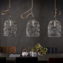 Suspension vintage en métal gris 3 lampes Ø 30 cm Arielle