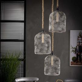 Suspension vintage en métal gris 3 lampes étagées Ø 25 cm Arielle